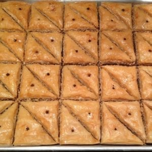 Tray of traditional Greek walnut baklava from Glyka Sweets