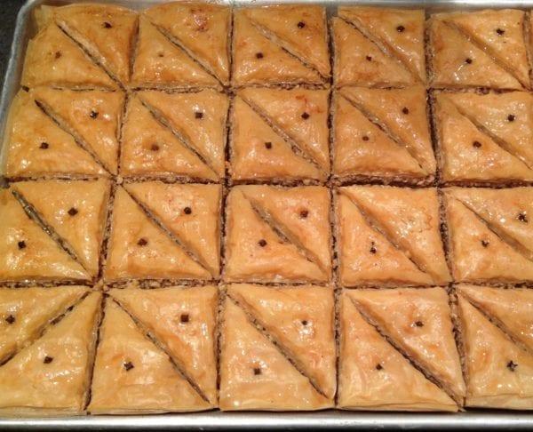 Tray of traditional Greek walnut baklava from Glyka Sweets