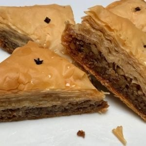 Traditional Greek walnut baklava from Glyka Sweets