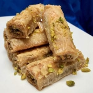 Pistachio saragli or rolled baklava from Glyka Sweets