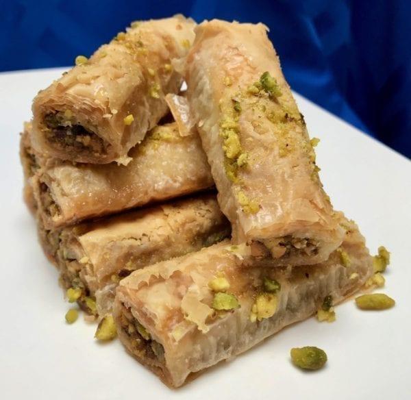 Pistachio saragli or rolled baklava from Glyka Sweets